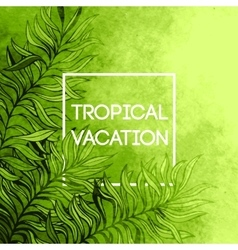 Watercolor tropical palm tree leaf background vector image
