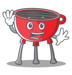 Waving barbecue grill cartoon character vector