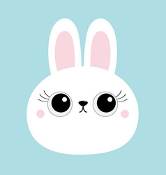 white bunny rabbit hare face head round icon big vector image