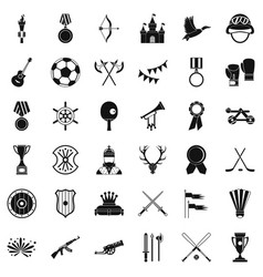Winning icons set simple style vector