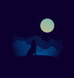 Wolf in silhouette howling to full moon vector