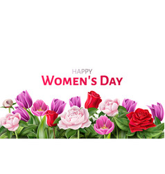 woman day 8 of march rose peony tulip vector image