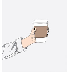 woman hand is holding coffee vector image
