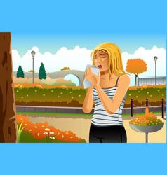 woman having allergy outdoor vector image