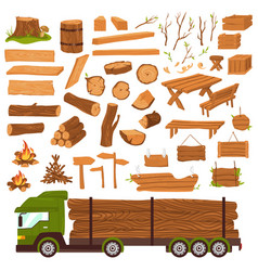 Wood logs timber industry wooden materia vector