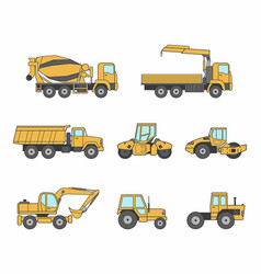 yellow construction machines icons set vector image
