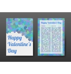 Brochure Happy Valentines Day with Blue Hearts vector image vector image