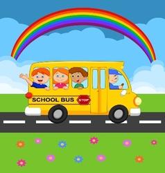 Cartoon school Bus With Happy Children vector image vector image