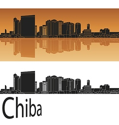 Chiba skyline in orange vector image vector image