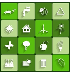 Ecology flat icons set vector image vector image