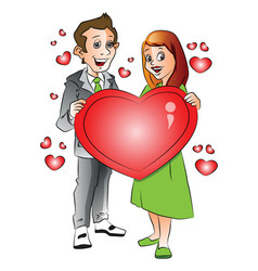 happy young couple with heart shape symbol vector image vector image