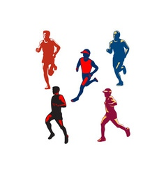 Marathon Runner Retro Collection vector image vector image