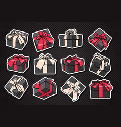 set of gift boxes icon with bow and ribbon on vector image