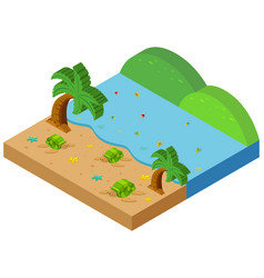 3d design for scene with beach and ocean vector image