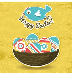 background with easter eggs and one bird vector image vector image