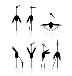 Funny storks collection for your design vector image vector image