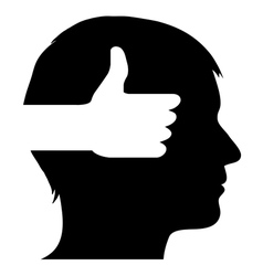 Male silhouette with thumb up symbol vector image vector image