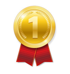 realistic gold medal with red ribbons for winner vector image