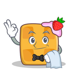 waiter waffle character cartoon design vector image