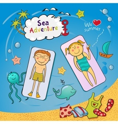 Beach graphic set in doodle style vector image vector image