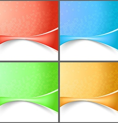 Modern abstract wave tech backgrounds collection vector image
