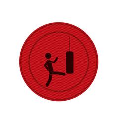 red circular frame with man kicking a punching bag vector image vector image