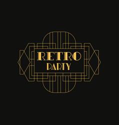 retro party logo luxury vintage geometric vector image