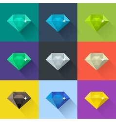 Diamond set in flat design vector image vector image