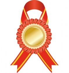 gold medal with red ribbon vector image vector image