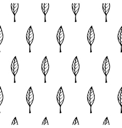 Hand Drawn Leaves Seamless Pattern vector image