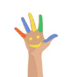 Smiling colorful hand raised up vector image