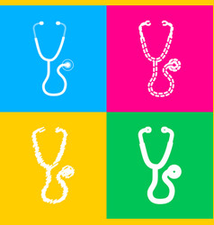 stethoscope sign four styles of icon vector image