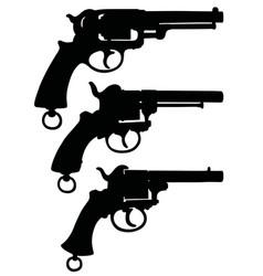 three silhouettes of retro revolvers vector image vector image