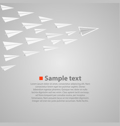vrowd of paper airplanes with a leader vector image vector image