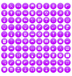 100 construction site icons set purple vector