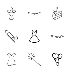 9 party icons vector