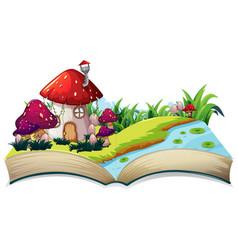A fairy tale house on open book vector