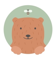 Animal set Portrait in flat graphics - Bear vector