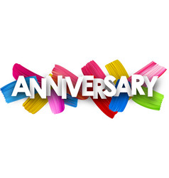 Anniversary banner with brush strokes vector