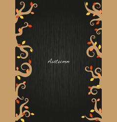 autumn ivy and leaves frame on blackboard vector image