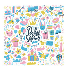baby shower design elements toys and clothes big vector image