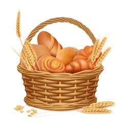 bakery basket fresh sweet sliced bread kitchen vector image