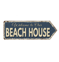 beach house vintage rusty metal sign vector image