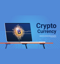 bitcoin on laptop computer monitor digital web vector image