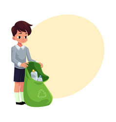 boy holding green bag of plastic bottles garbage vector image