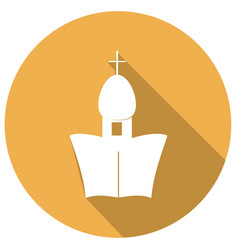 building church flat icon with long shadow vector image