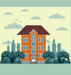 building in flat style vector image