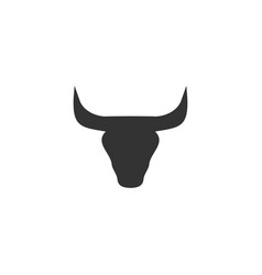 Bull head icon flat vector