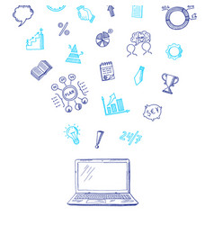 Business doodle icons flying out laptop vector