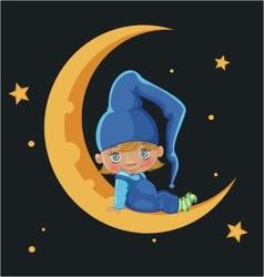 Cartoon boy sitting on the moon vector image